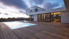 Backyard pool at luxury modern design home