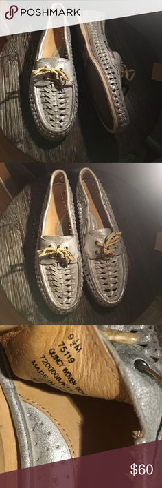 FRYE: quincy woven boat shoes in EUC. only major flaw is the two of the little silver lace end keepers are missing. size 9.5. silver Frye Shoes Flats & Loafers