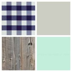 Country Rustic baby boys nursery color palette. Blue & white gingham / plaid - seafoam green / mint - barn wood / distressed wood - greige / grey beige.