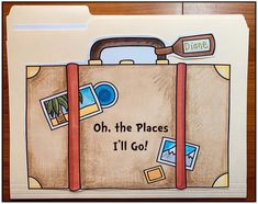 Seuss Activities: Cover of the file folder suitcase for Oh the places I'LL go writing prompt craft. Super-fun writing prompt that also works for the end of the year too. 1 2 3 Come Do Some Fun Writing Prompts, Cool Writing, Creative Writing, Dr Seuss Coloring Pages, Dr Seuss Crafts, Hallway Displays, Dr Seuss Activities, Hat Crafts, Bee Theme