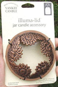 RARE 2003 Yankee Candle ILLUMA-LID Jar Topper Bronze SUNFLOWER Bees NEW HTF