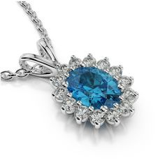 Oval Blue Topaz & Diamond Halo Pendant, 6x4mm Engagement Jewelry, Anniversary Wedding Gifts for Women, Topaz, Gemstone, Birthstone Necklaces