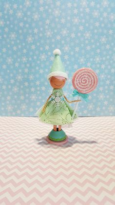 SugarlandDollHouse..Candy Elf Christmas Miniature Wooden Clothespin Doll