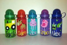 Personalized Beach Themed Water Bottle Kids by EllerysDesigns