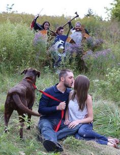 A Windsor photographer was shooting a romantic couple when three Medieval warriors photobombed the set