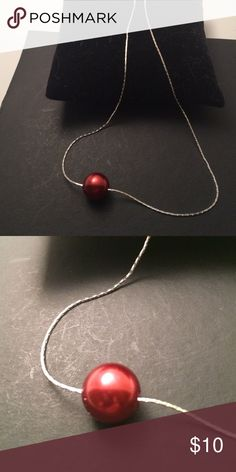 Silver tone necklace Silver tone necklace with red pearl , 18 inches , nice present , bundle to save for shipping jewerly Jewelry Necklaces