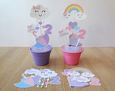 kit-papelaria-para-centro-de-mesa-chuva-de-amor-decoracao-chuva-de-amor Unicorn Themed Birthday, Rainbow Birthday Party, Toy Story Birthday, Unicorn Party, 1st Birthday Parties, Animal Crafts For Kids, Fun Crafts For Kids, Diy Baby Shower Decorations, Birthday Party Centerpieces