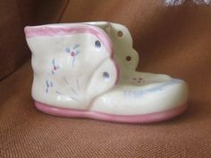Vintage Baby Shoe Planter or Vase Sweet Pink and Blue by MendozamVintage on Etsy