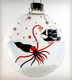 Glass Mr. Squid Holiday Ornament | Turn a negative into a positive with this Mr. Squid holiday or... | Holiday Ornaments