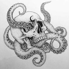 black and white sketch art tattoo splash color Octopus Tattoo Sleeve, Octopus Tattoo Design, Octopus Tattoos, Tattoo Design Drawings, Skull Tattoos, Sleeve Tattoos, Tattoo Designs, Small Octopus Tattoo, Octopus Drawing