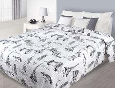 Prehozy na postele bielej farby s potlačou svetových miest Comforters, Blanket, Bed, Furniture, Home Decor, Creature Comforts, Homemade Home Decor, Blankets, Stream Bed