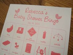 Personalized Baby Shower Bingo Game Cards 4x4 by ThePaperCanary