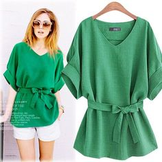 Casual Korean Bow Sashes Linen Vintage 2016 Summer V-neck Long Blouse Loose Casual Solid Shirt Blusas Women Top Plus Size S-5XL