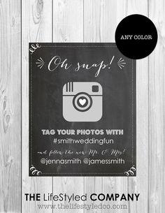 Printable+Instagram+Wedding+Sign+Chalkboard+by+LCODesignandPaperie,+$10.00