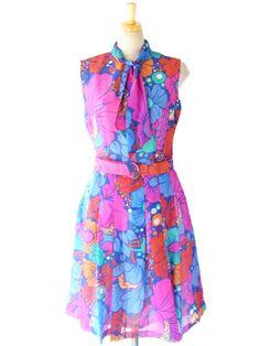 ヨーロッパ古着 ロンドン買い付け ブルー X ピンク 花柄 ベルト付き レトロ ワンピース : 13BS212