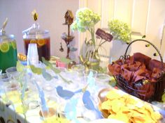 Birds and bees baby shower table