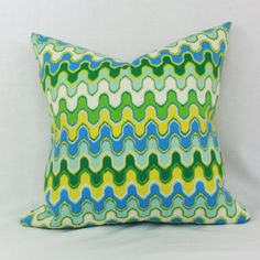 "Blue, green & yellow indoor/outdoor throw pillow cover. 18"" x 18"" . 20"" x 20"" outdoor pillow cover."