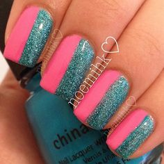 Candy pink, blue glitter, summer nails perfected!