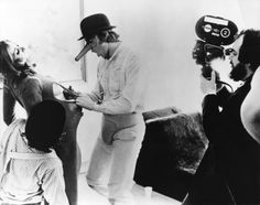Stanley Kubrick with Malcolm McDowell - A Clockwork Orange