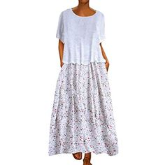 Women's Long Dresses Summer Dress Linen Dress Fashion Tops Vintage Print Patchwork O-neck Two Pieces Plus Size Pockets Maxi Dress Solid Color Blouse Tops Vintage, Vintage Prints, Mode Top, Dress Vestidos, Maxi Robes, Patchwork Dress, Everyday Dresses, Plus Size Maxi Dresses, Two Piece Dress