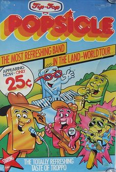 Mid Tip-Top Ice Cream Popsicle Band Advertising Poster - New Zealand · Mid Tip-Top Ice Cream. Tip Top Ice Cream, Walls Ice Cream, Ice Cream Packaging, Retro Cafe, Kiwiana, Kids Zone, 80s Kids, My Childhood Memories, Popsicles