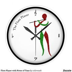 Flute Player with Notes of Time Clock This is a clock for the musician you know and, in particular, the person who plays or loves the flute. The patterned, abstract shape connotes the grace of both the flutist and the sound a flute makes. #flute #music