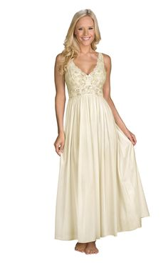 Shadowline Women's Plus-Size Silhouette 53 Inch Sleeveless Long Gown, Ivory, 1X at Amazon Women's Clothing store: Lace Long Robe Ivory