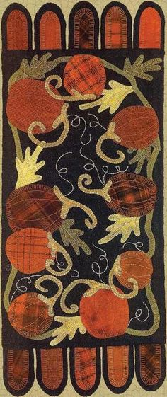 Gourd harvest wool applique pattern: the merry hooker woolens