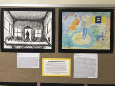 """8th Grade, OMS Students  Left: Remixed """"The Last Supper"""" in a different art style, which was abstract expressionism  Right: Remixed """"The Birth of Venus"""" with a modern twist about a topic that is important to her, which was diversity"""