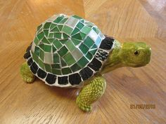 Garden Turtle Mixed Media Original Upcycled Mosaic and Ceramic Yard and Garden Art Home Decor by TinkersAttic on Etsy