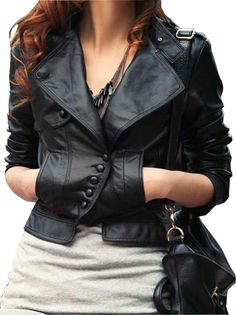 Fashionable Diagonal Button Lady Short Jacket  US$64.99(55% OFF)