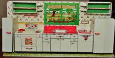 Vintage Tin Louis Marx Dollhouse Kitchen Playset