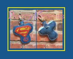 """ITH Kripton Hero Spinner Keeper Key Fob Embroidery Design hoop size 4X4, 3X6, 5X5, 5X7,  FITS 3"""" Spinner, Letters NOT included by PrettyNStitches on Etsy"""