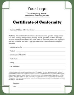 Certificate of conformity for use in any industry that has met certificate of conformity for use in any industry that has met appropriate standards can be yadclub Image collections