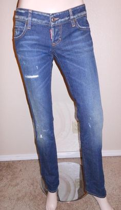 Dsquared Women's Dark Wash Stressed Style Straight Leg Denim Jeans size 42 #Dsquared2 #seepics