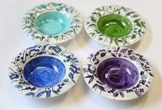 4 ceramic bowls - blue purple green and Turquoise ceramic bowl -serving bowl - gift idea - home decor - serveware by EdnaGalili on Etsy