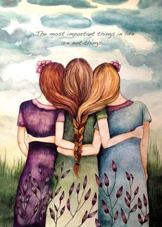 """Three Sisters Best Friends"" by Claudia Tremblay Sisters Art, Three Sisters, Soul Sisters, Sisters Drawing, Three Daughters, Happy Friendship Day, Friendship Quotes, Friendship Images, Friendship Paintings"