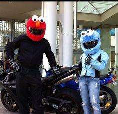 Elmo and Cookie Monster Sesame Street Motorcycle Helmet Covers | #ridesafe #protectyourpumpkin