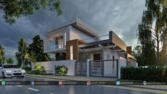 Panash Design Studio - Take a look of our best design list of Commercial Elevation Projects. House Front Wall Design, Home Door Design, 2 Storey House Design, Village House Design, Duplex House Design, Kerala House Design, House Design Photos, Modern Bungalow Exterior, Classic House Exterior