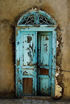 Fabulous door, old door, cracks, turquise, blue, curve, weathered, beauty, aged, curve, details, ornaments, photo The Doors, Cool Doors, Unique Doors, Windows And Doors, Front Doors, Door Knobs, Door Knockers, Sidi Bou Said, Veranda