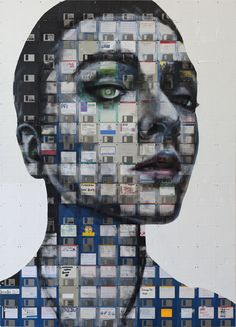 SPY 2013 Oil and used computer disks on wood 150cm x 108cm