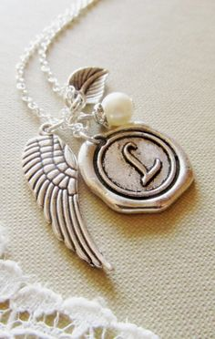 Angel Wing Charm Necklace Personalized Vintage