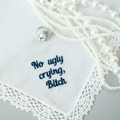 no ugly crying wedding handkerchief, maid of honor gift sister wedding gift, man of honor gift, matron of honor gift, wedding parent gift Bride Gifts From Maid Of Honour, Maid Of Honour Dresses, Matron Of Honour, Bridal Shower Gifts From Maid Of Honor, Maid Of Honor Dress Different, Wedding Gifts For Bride, Handmade Wedding, Wedding Ideas, Wedding Gift For Sister