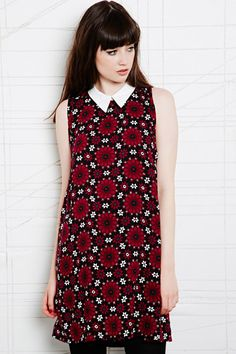 Cooperative Contrast Collar Dress in Tile Print at Urban Outfitters
