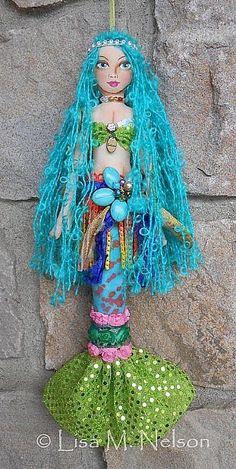 Art: Boho Gypsy Mermaid Art Doll by Artist Lisa Monica Nelson