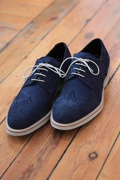 BSB Lander Urquijo Limited Edition Shoes: Blue Suede Brogue by katharine