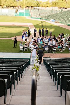Baseball wedding getting married on the field, consider this set up if you have enough space behind home plate
