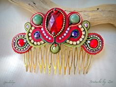 El Rinconcito de Zivi Bridal Fascinator, Bridal Headpieces, Red Gold, Blue And Silver, Or Rouge, Bridal Party Jewelry, Soutache Earrings, Blue Tones, Hair Comb