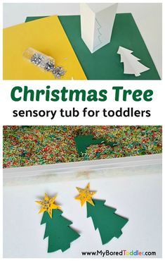 This Christmas tree sensory bin for toddlers is so much fun! A perfect sensory play tub for toddlers and preschoolers. One of our favorite sensory bins! Preschool Christmas Activities, Fun Activities For Toddlers, Christmas Crafts For Toddlers, Toddler Christmas, Sensory Activities, Infant Activities, Christmas Themes, Christmas Fun, Crafts For Kids