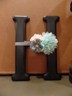 Pretty letter H... embellished with a flower garland...nice wall décor with a grouping of pictures.